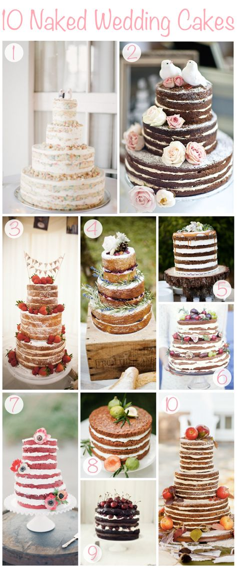"""The """"naked"""" wedding cake! I LOVE this look. So simple and natural"""