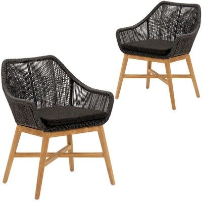 Cast Iron Outdoor Black Stream Pe Wicker Outdoor Dining Chairs Reviews Temple Webster In 2020 Outdoor Chairs Black Dining Chairs Cheap Outdoor Chairs