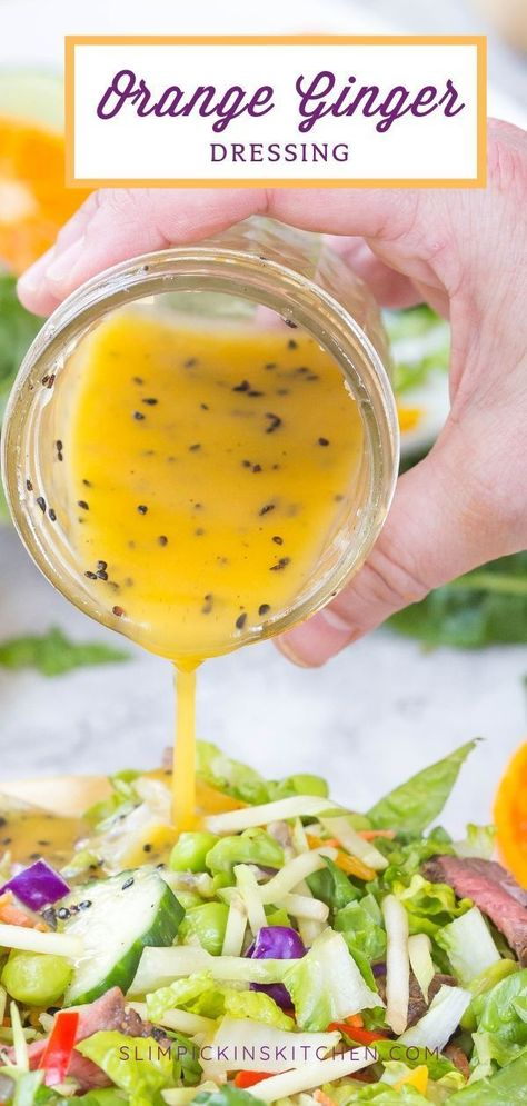 May 2019 - Mandarin Orange Ginger Dressing doesn't have a ton of ingredients, but don't let that fool you! This easy homemade dressing recipe boasts an explosion of bright, citrusy flavor that you'll want to pour on all of your healthy eats! Healthy Recipes, Healthy Salads, Healthy Eating, Cooking Recipes, Pear Recipes, Homemade Dressing Recipe, Homemade Sauce, Homemade Healthy Salad Dressing, Homemade Salad Dressings