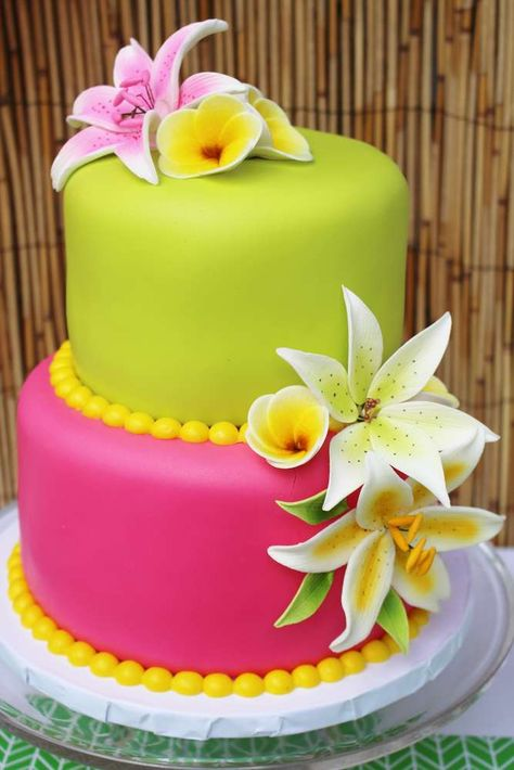 Pink And Green Cake At A Hawaii Birthday Party See More Ideas CatchMyParty