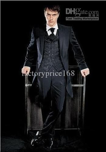 Top Quality Hi Lo Black One Button Peak Lapel New Groom Tuxedos ...