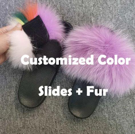 Customized Color Detachable Versatile Real Fur Slides