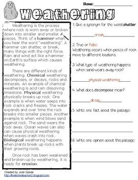 Weathering Erosion And Deposition Worksheet Answer Key Pdf ...