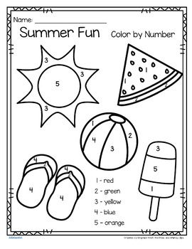 Summer Fun Color By Number Printables 3 Pages With Images