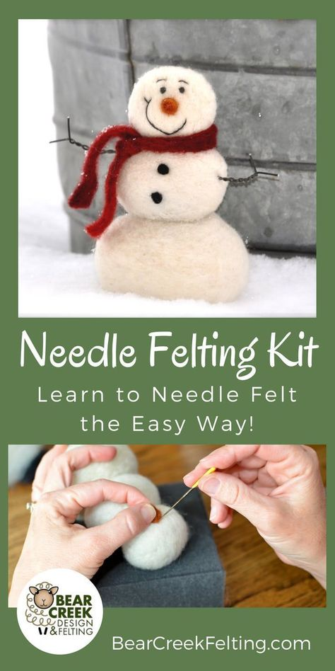 Needle felted Snowman craft kit for beginners. Super Easy kit that will get you started needle felting with everything you need.  All the supplies needed to complete this project plus detailed instructions with pictures of each step. Perfect craft to do w