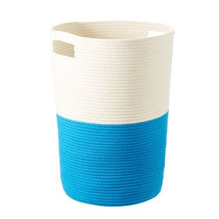 Blue Cotton Rope Laundry Hamper The Container Store In 2020 Laundry Hamper Fabric Storage Bins Grey Laundry Basket