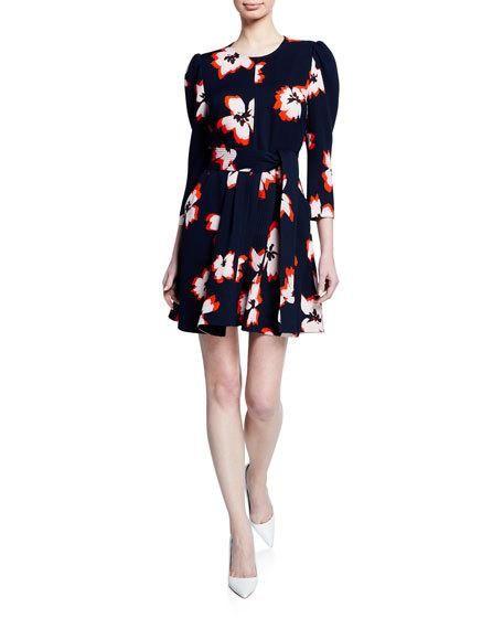 70eadf2de63a2 A.L.C. Stella Floral Silk 3/4-Sleeve Short Dress in 2019 | Post babe ...