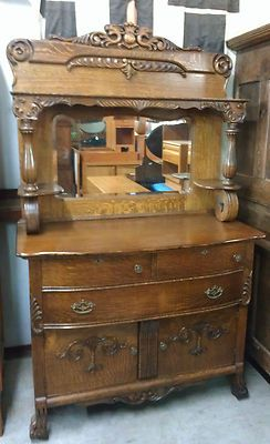 Antique Quartersawn Oak Carved Griffins Beveled Mirror Sideboard Cabinet Dresser