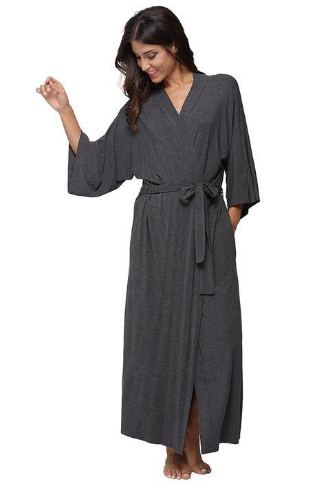 106ab0f334b0 KimonoDeals Women s Soft Sleepwear Modal Cotton Wrap Robe- Long ...