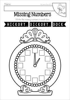 Hickory Dickory Dock Nursery Rhyme Worksheets And Activities