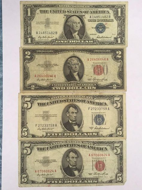 1 And 5 Dollar Blue Seal Silver Certificates 2 And 5 Dollar Red