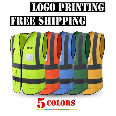 Security & Protection Spardwear High Visibility Mesh Reflective Safety Vest Logo Printing Free Shipping Safety Clothing