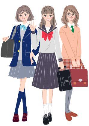 ブレザーやセーラー服などの学生服姿の高校生の女の子のイラスト 女の子 女の子イラスト ファッション