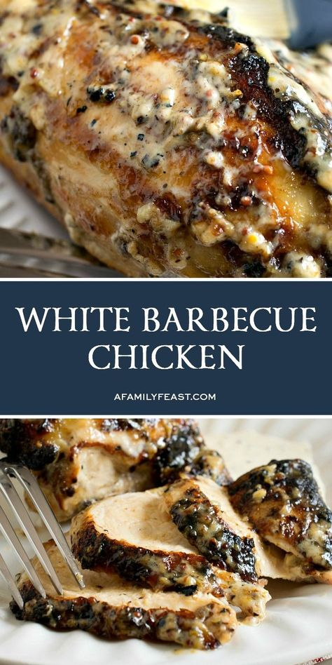 This White Barbecue Chicken is sure to become a new crowd favorite at all of your cookouts this summer! #BBQChicken #WhiteBBQChicken #chickenrecipes