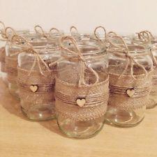 X12 Wedding Decorations Hessian Twine Heart Jam Jars Rustic Country Shabby Chic