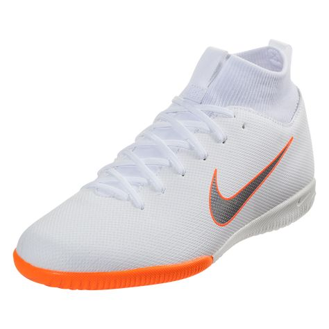 bb06a6eae9bf Nike Junior Mercurial Superfly X VI Academy IC Indoor Soccer Shoe White Metallic  Cool Grey Total Orange-1