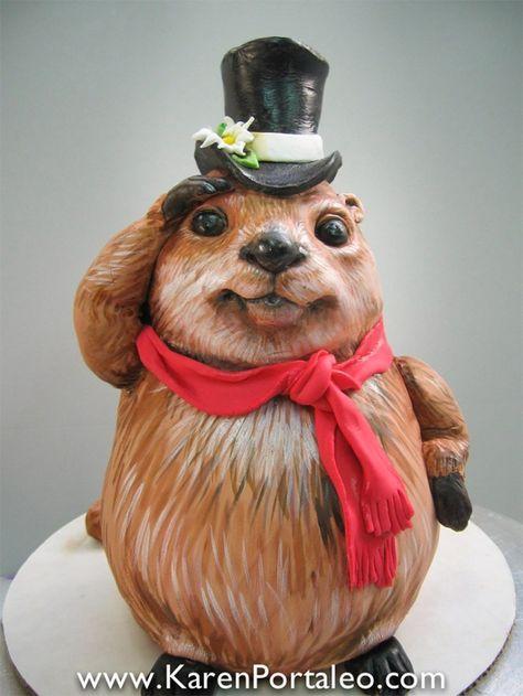 Standing Groundhog cake by Karen Portaleo/ Highland Bakery for Groundhog Day.