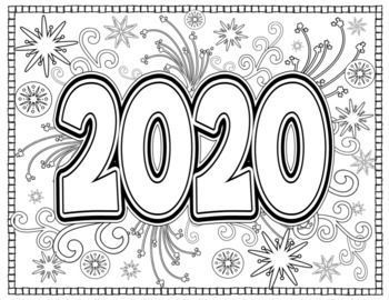 New Year 2020 Coloring Pages For Teens And Adults New Year Coloring Pages New Year S Eve Crafts New Year S Crafts