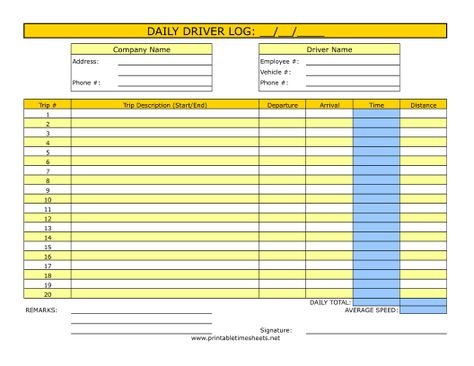 Driver Timesheet Printable Time Sheets Free To Download And Print