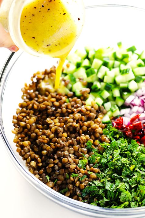 This lentil salad recipe is easy to make with French lentils, cucumber, sun-dried tomatoes, red onion, fresh mint and a zippy lemon dressing. Lentil Salad Recipes, Vegetarian Recipes, Healthy Recipes, Whole Foods, Whole Food Recipes, Cooking Recipes, French Lentils, Plant Based Diet, Summer Salads