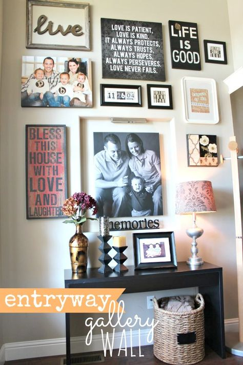 How to Decorate Your Front Entryway using a gallery wall. Details at: http://houseofroseblog.com/front-entryway-decorating-ideas/