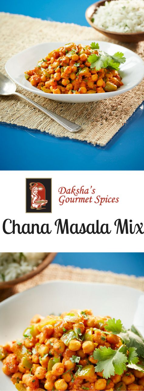 Daksha's Chana Masala Mix! Makes a delicious chick pea curry with green peppers, onions and tomatoes. #SimpleRecipe included.