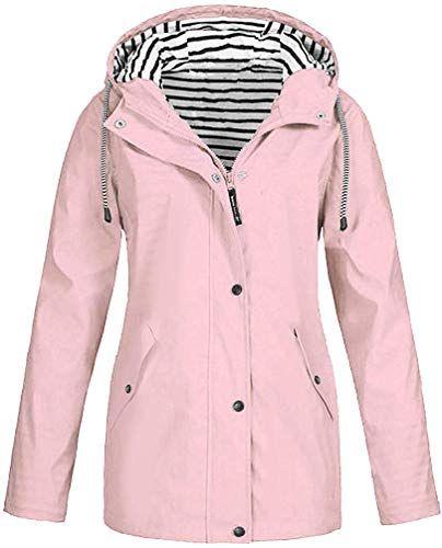 Women Windbreaker Long Trench Coat Anorak Jacket Plus Size Windproof Raincoat Zipper Rain Jackets Pocket Hoodie Top