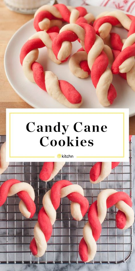 These old-fashioned Candy Cane Cookies are perfect for holiday baking. Red and white peppermint cookie dough, twisted into a festive candy cane shape. Candy Cane Cookies, Holiday Cookies, Holiday Treats, Holiday Recipes, Recipe For Candy Canes, Holiday Foods, Brownie Cookies, Christmas Candy, Christmas Desserts