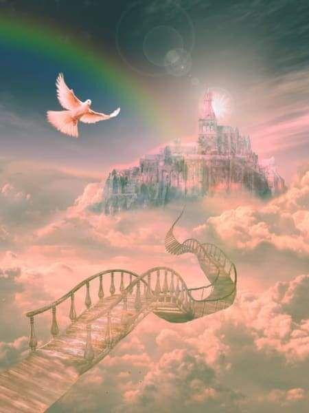 Heaven S Bridge With Images Rainbow Bridge Heaven Painting