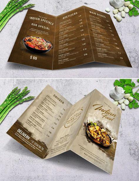 Tri-Fold Food Menu Template PSD