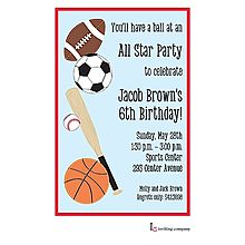 Sports Themed Party Invitation Featuring A Baseball Basketball Football And Soccer Ball Use This Fun Invitat