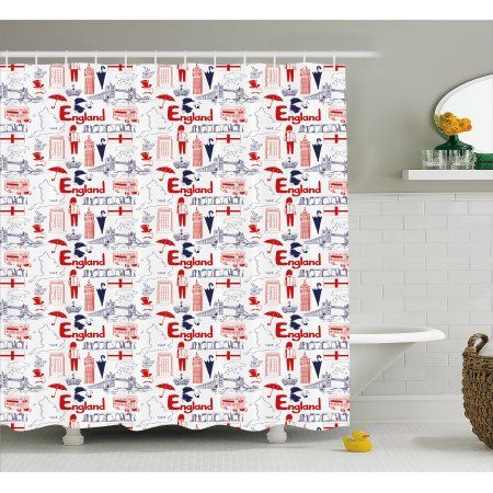 London Shower Curtain Sketch Artwork Country British Cultural