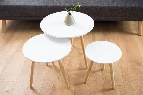 3er Set Beistelltische Stockholm 50cm Weiss Pinie Scandinavian Design Beistelltische Tisch Und Couchtisch Truhe