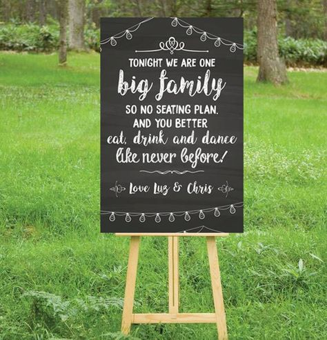 Chalkboard wedding- No seating plan because we are a big family.  https://www.etsy.com/es/listing/474933689/wedding-sitting-poster?ref=shop_home_active_1