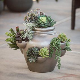 Craftware Ceramic Pot Planter Walmart Com Strawberry Pots Flower Pots Flower Pot Design