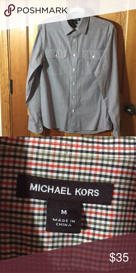Michael Kors Casual Shirt, Medium Impeccable tailoring in this Dress Shirt by Michael Kors. See close up for pattern/color. Medium Michael Kors Shirts