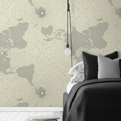 Roommates Maritime Maps Peel Stick Wallpaper Beige In 2020 Peel And Stick Wallpaper Room Visualizer Roommate Decor