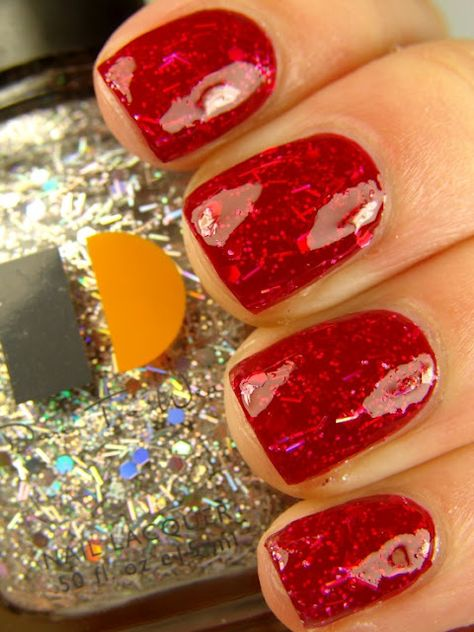 put a layer of glitter polish between layers of color