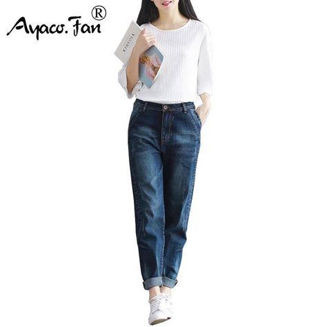23c0e58f20689 2018 Boyfriend Jeans Harem Pants Women Trousers Casual Plus Size Loose Fit Vintage  Denim Pants High Waist Jeans Women Full Pants
