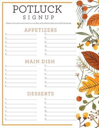 Potluck Sign Up Sheet Thanksgiving Potluck Holidays Potluck Friendsgiving Potluck