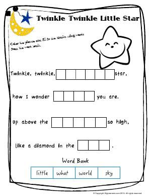 Worksheet Twinkle Twinkle Little Star Worksheet 1 Color