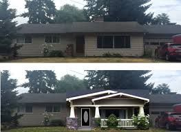 Image Result For Low Pitch Roof Line Single Floor Ranch Rambler With Entrance Addition Ranch House Remodel Exterior Remodel House Front Porch