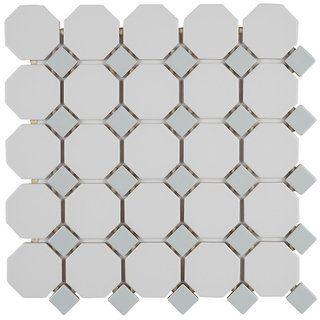 Mosaic 2x2 Inch Octagon With 1x1 Inch Gray Gloss Dot On 12x12 Inch Matte White Sheet 12x12 Mosaic Tiles Ceramic Mosaic Tile Porcelain Mosaic Tile