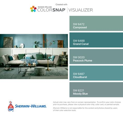 I found these colors with ColorSnap® Visualizer for iPhone by Sherwin-Williams: Composed (SW 6472), Grand Canal (SW 6488), Peacock Plume (SW 0020), Cloudburst (SW 6487), Moody Blue (SW 6221).
