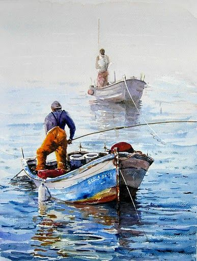 Two Fishing Boats With Their Fishermen Lines Taut From The Early