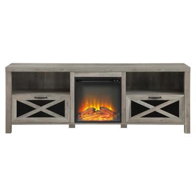 Walker Edison Furniture Company 70 In Grey Wash Composite Tv Stand Fits Tvs Up To 78 In Wit In 2020 Rustic Farmhouse Fireplace Fireplace Tv Stand Farmhouse Fireplace