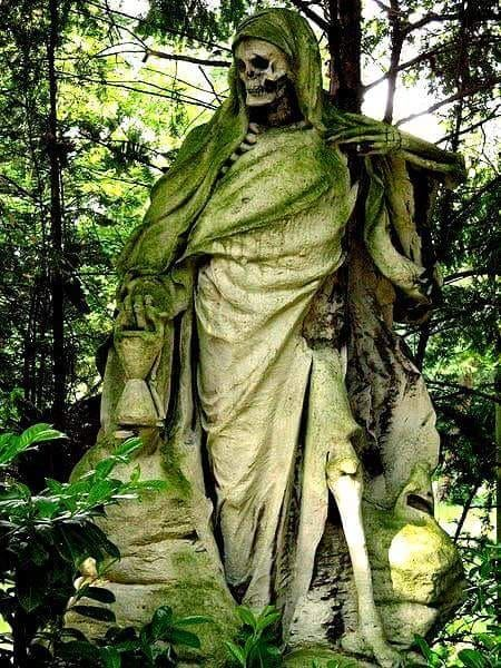 The Grim Reaper Sculpture By August Schmiemann Sculptor On The Melaten Cemetery In Cologne Germany Cemetery Statues Savannah Chat Cemetery Art
