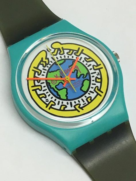 Vintage Keith Haring Swatch Watch Milles Pattes 1985 Pop Art Special Turquoise Blue Avocado Green Near Mint Condition Gift by ThatIsSoFunny on Etsy