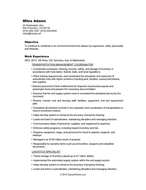 military civilian conversion sample resume for logistics before list