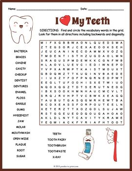 No Prep Dental Health Word Search Fun Health Words Dental